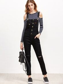 Overall Jeans mit zerrissen Design -schwarz