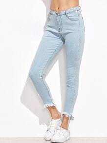 Pale Blue Fringe Hem Skinny Jeans