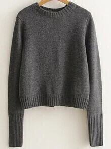 Dark Grey Ribbed Trim Lace Up Back Sweater