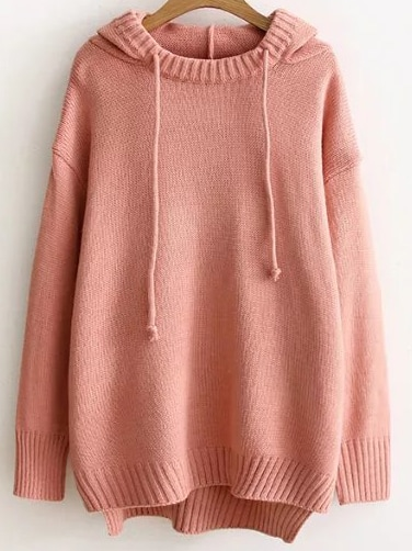 Pink Ribbed Trim Hooded High Low Sweater