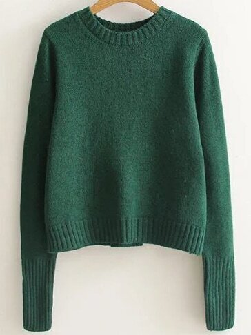Green Ribbed Trim Lace Up Back Sweater sweater161017214