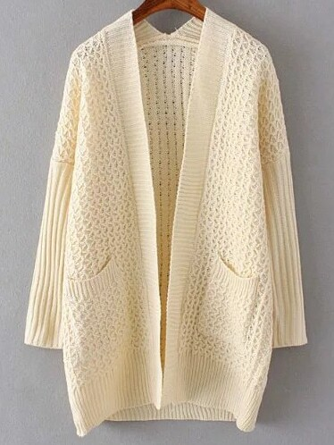 Beige Collarless Drop Shoulder Pocket Cardigan sweater161017215