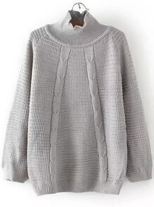 Grey Turtleneck Raglan Sleeve Sweater
