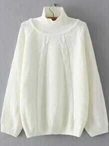 White Turtleneck Raglan Sleeve Sweater