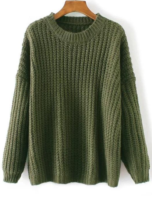 Army Green Round Neck Drop Shoulder Sweater