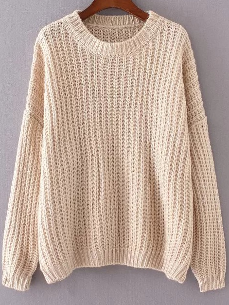 Apricot Round Neck Drop Shoulder Sweater