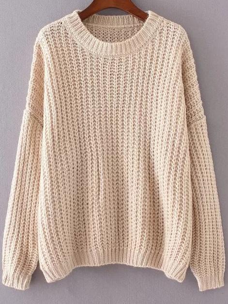 Apricot Round Neck Drop Shoulder Sweater