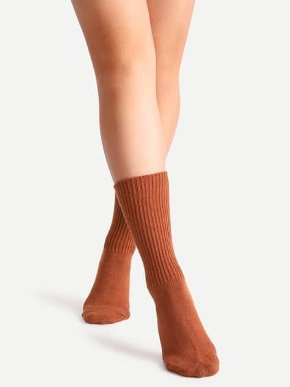 Dark Orange Ribbed Socks