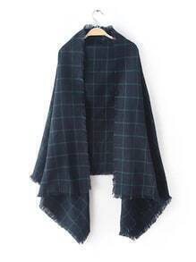 Navy Plaid Eyelash Fringe Shawl Scarf