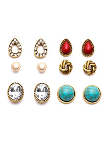 Gold Plated Gemstone Multi Shape Stud Earrings Set