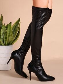 Black Faux Leather Point Toe Thigh High Stiletto Boots
