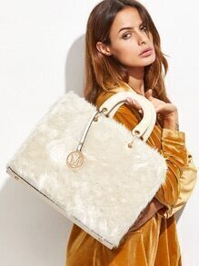 White Faux Fur Trim Elegant Handbag With Strap