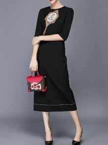 Black Beading Sequined Embroidered Sheath Dress