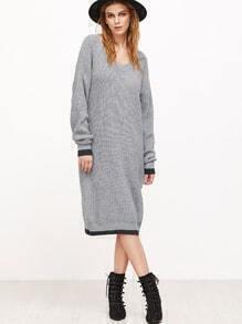 Contrast Trim Scoop Neck Drop Shoulder Sweater Dress