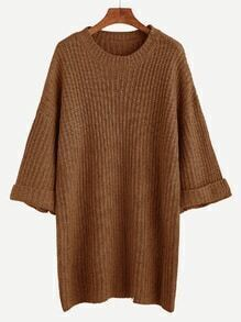 Khaki Dropped Shoulder Seam Cuffed Sweater Dress