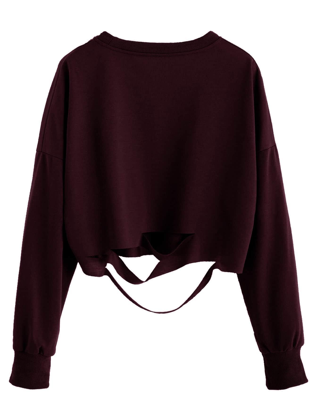 burgundy drop shoulder cut out crop t shirtfor women romwe. Black Bedroom Furniture Sets. Home Design Ideas