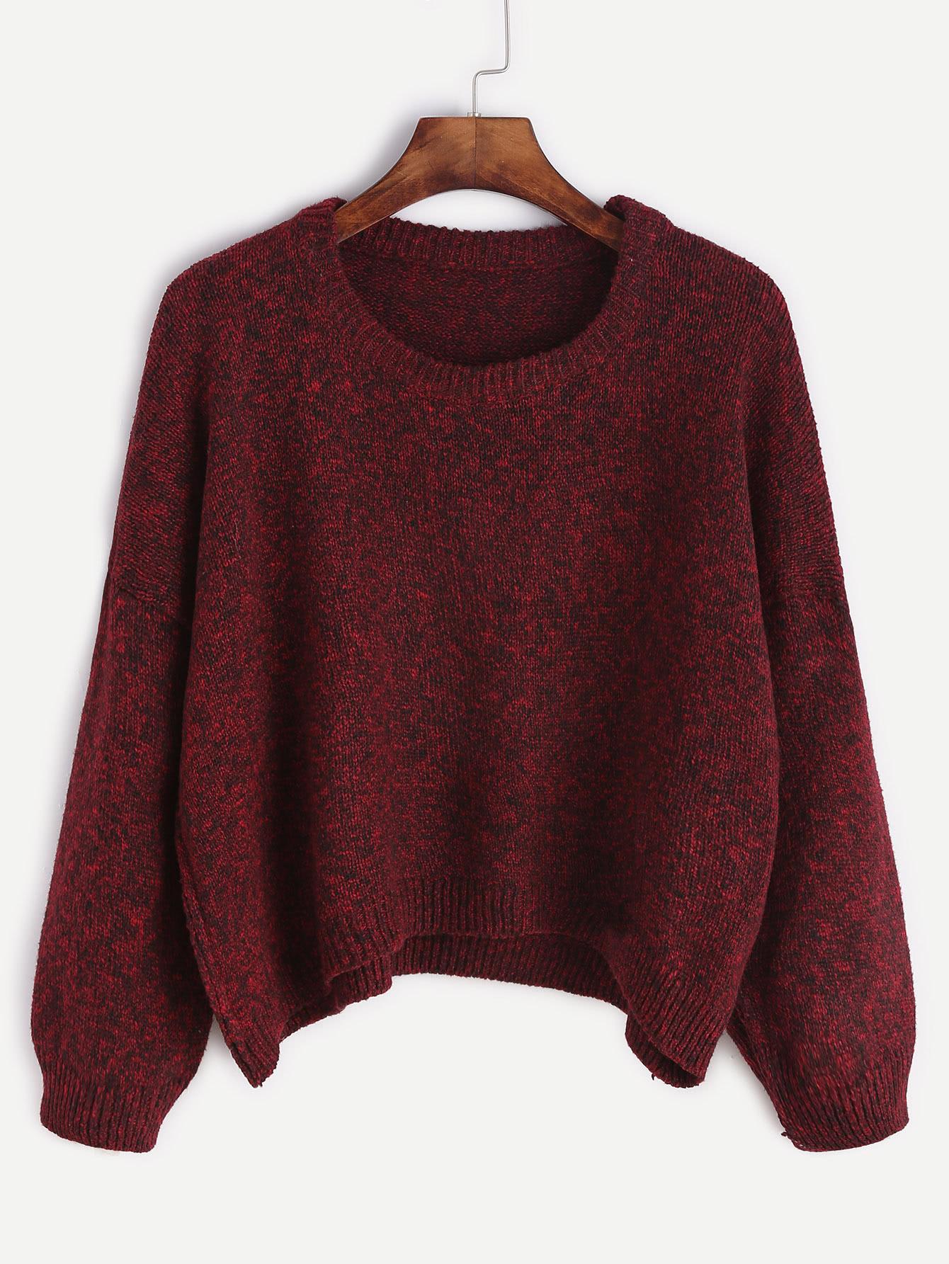 Burgundy Dropped Shoulder Seam Dip Hem Sweater