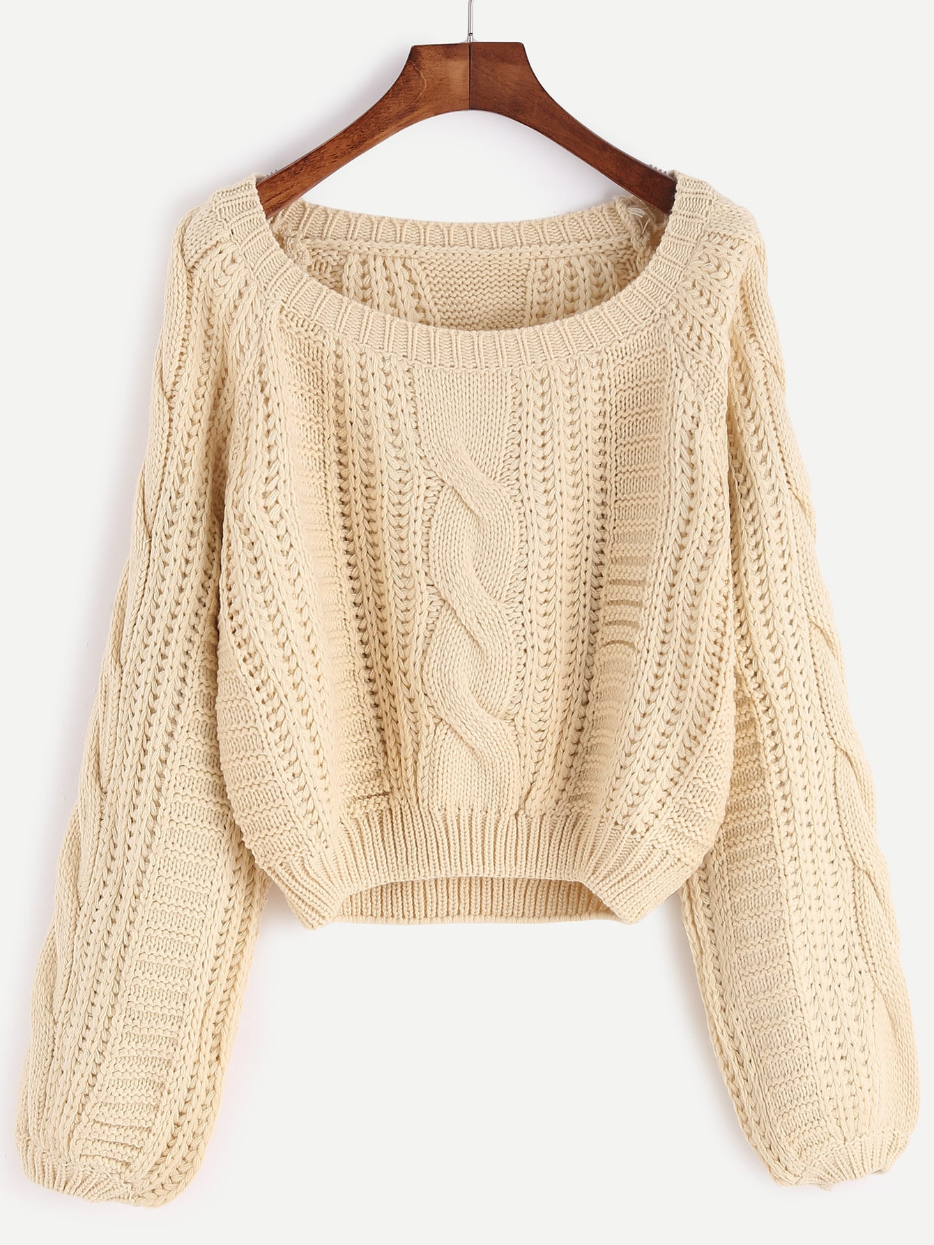 Apricot Scoop Neck Cable Knit Crop Sweater
