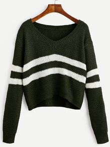 Dark Green Striped V Neck Crop Sweater