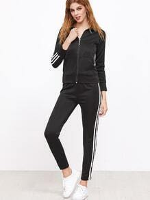 Top à rayure avec zip avec pantalons - noir