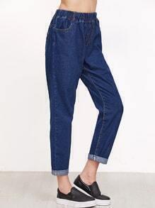 Blue Elastic Waist Roll Hem Jeans