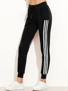 Black Side Stripe Drawstring Tapered Leg Pants