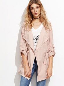 Drop Shoulder Drawstring Waist Hooded Coat With Buckle Detail