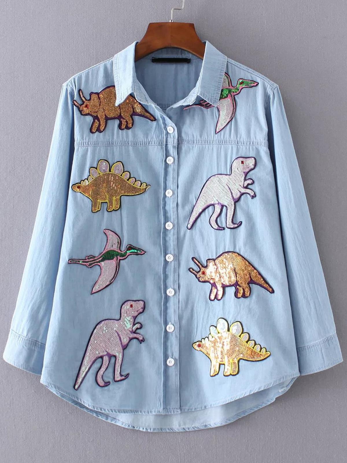 藍色 亮片 恐龍 浸下擺 女襯衫