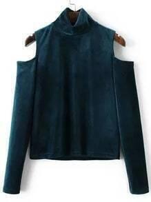 Blusa de terciopelo con hombros al aire y cuello alto - azul