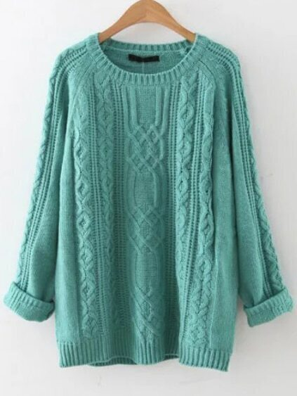 Blue Cable Knit Raglan Sleeve Sweater pictures