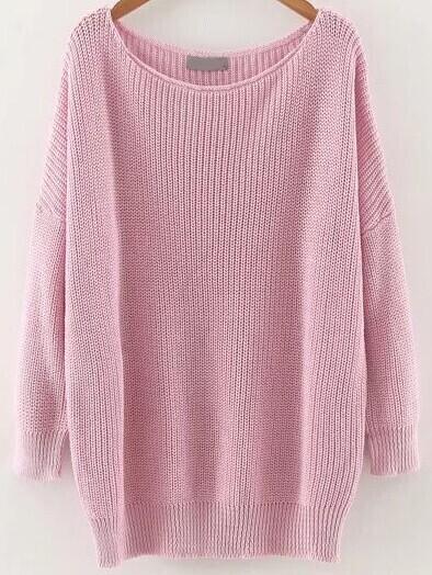 Pink Round Neck Drop Shoulder Knitwear