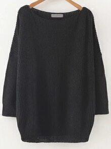 Jersey con cuello redondo y hombro caído - negro