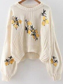Jersey asimétrico con manga farol y bordado de limón - blanco