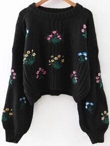 Black Flower Embroidery Drop Shoulder Sweater