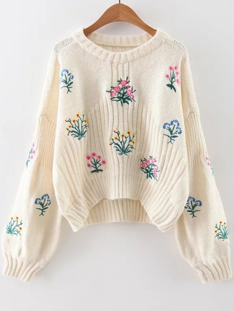 White Flower Embroidery Drop Shoulder Sweater