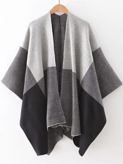 Color Block Open Front Poncho Sweater