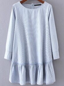 Blue Vertical Striped Button Back Ruffle Hem Dress