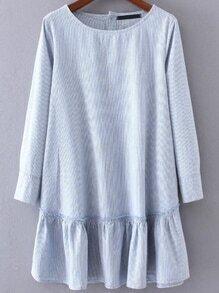Rüschen Saum Kleid Vertikal gestreifte Knopf-blau