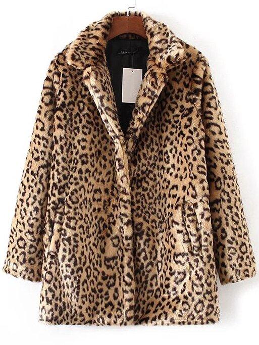 Кнопка Леопарда Пальто Из Искусственного Меха