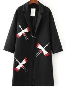 Abrigo largo con bordado - negro