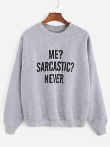 Grey Letter Print Drop Shoulder Seam Sweatshirt