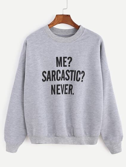 Grey Letter Print Drop Shoulder Seam Sweatshirt