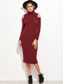 Burgundy Turtleneck Cut Out Shoulder Sweater Dress