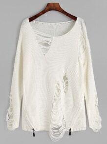 White Distressed Zipper Side Sweater