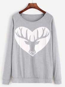 Sweat-shirt imprimé animation manche raglan - gris