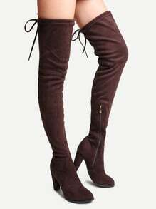 Buy Coffee Faux Suede Tie Back Knee Boots