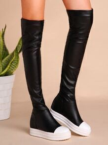 Black PU Cap Toe Flat Knee Boots