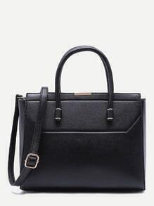 Black Faux Leather Handbag With Strap