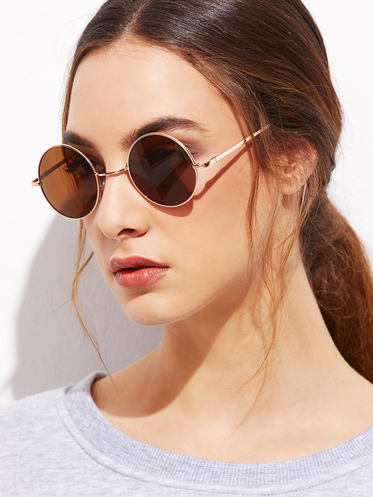 金色 框 棕色  圓形的 鏡片 太陽眼鏡