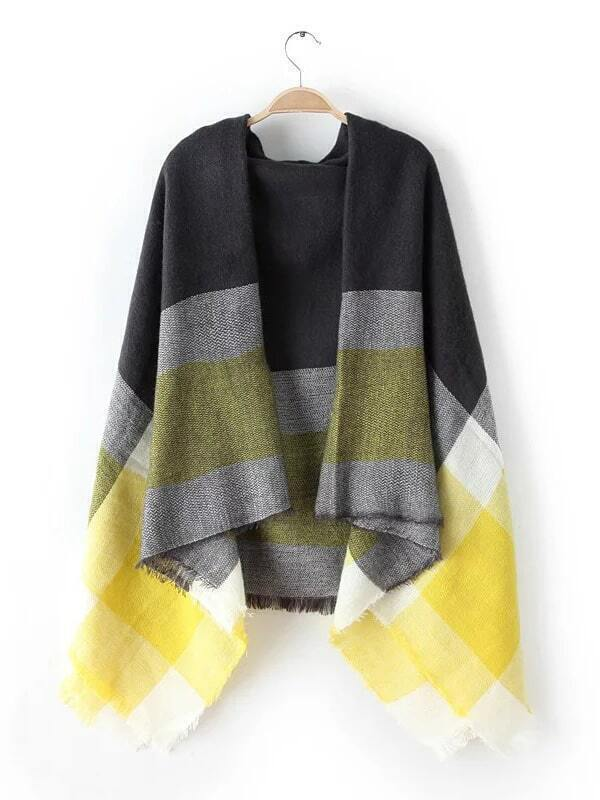 Neon Yellow Tone Raw Edge Shawl Scarf